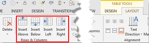 Rows & Columns group within the Table Tools Layout tab