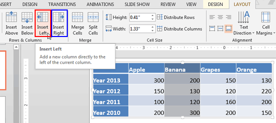 Table column selected