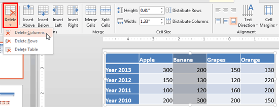 Delete a column within a table