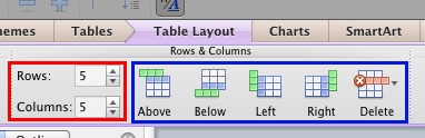 Rows & Columns group within the Table Layout tab