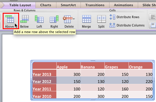 Insert a new row above the selected row