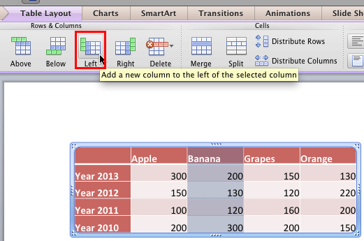 Insert a new column before the selected column