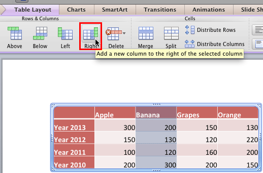 Insert a new column after the selected column