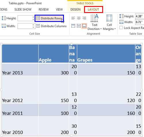 Distribute Rows button within the Table Tools Layout tab