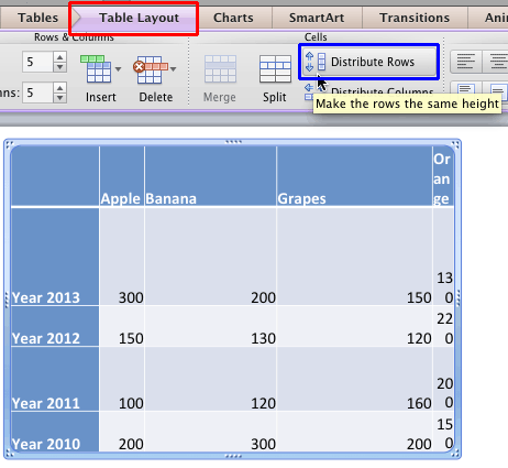 Distribute Rows option within the Table Layout tab