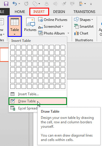 Draw Table option within the Table drop-down gallery