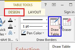 Draw Table button within the Table Tools Design tab