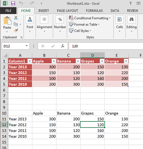 An Excel Table, or simple content, both are usable