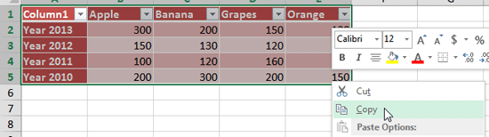 Copy the required Excel content