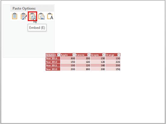 Embed (E) option
