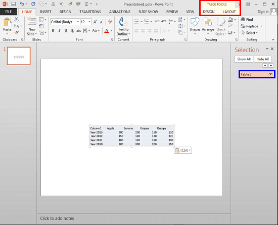 Excel table pasted as a native PowerPoint table