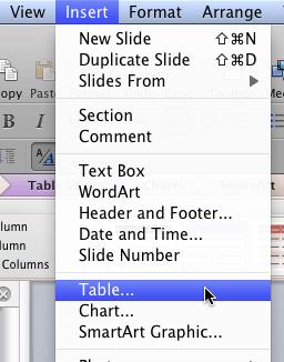 Insert   Table menu option
