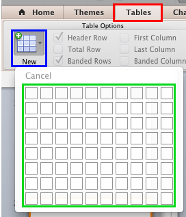 New button within the Tables tab