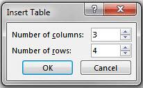 Insert Table dialog box