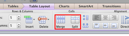 Merge and Split options for the table