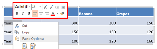 Mini Toolbar options for text within table