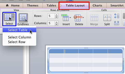 Select Table option within the Table Layout tab