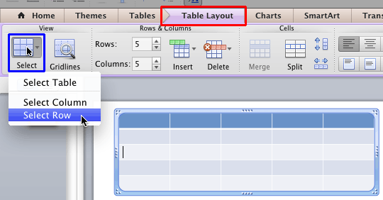 Select Row option within the Table Layout tab