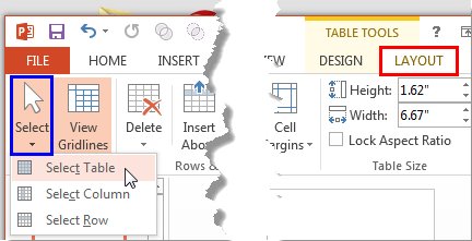 Select Table option to be selected