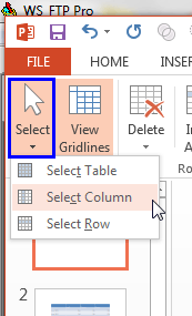 Select Column option to be selected