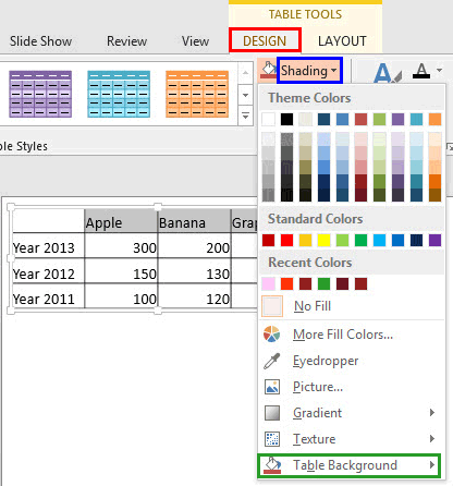 Shading drop-down gallery