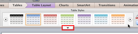 Table Styles group within Tables tab