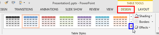 Table Tools Design tab of the Ribbon