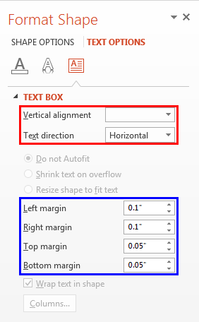 Text Options within the Format Shape Task Pane