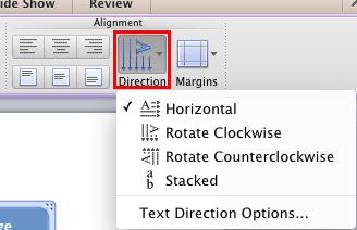 Text direction drop-down list