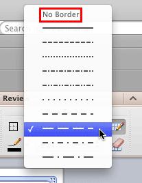Line Style pop up menu
