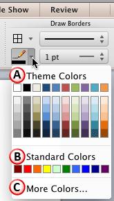 Line Color drop-down gallery