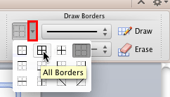All Borders option to be selected