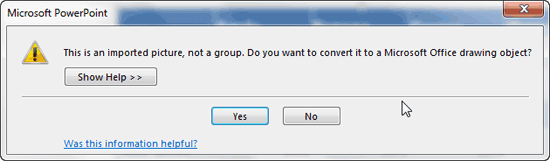 Microsoft PowerPoint message window