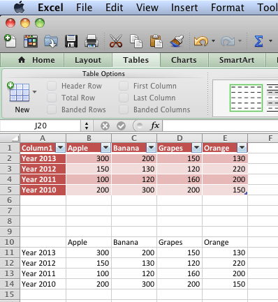 An Excel Table, or simple content, both are useable