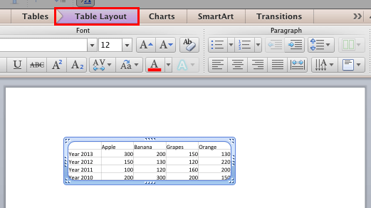 Excel content pasted as a native PowerPoint table
