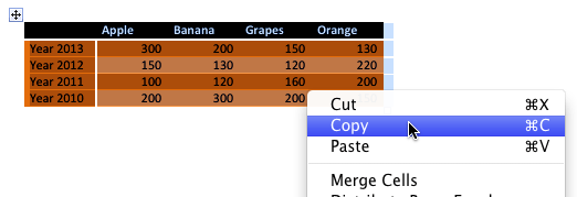 Word table content being copied