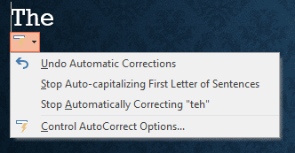 AutoCorrect SmartTag menu in PowerPoint 365