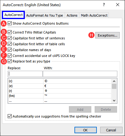 AutoCorrect tab in PowerPoint 365 for Windows