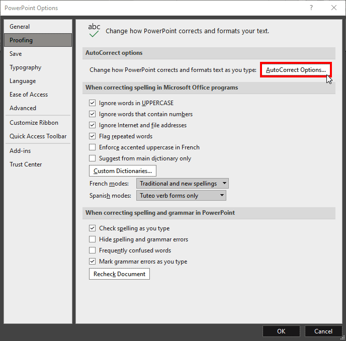 Proofing within PowerPoint 365 for Windows