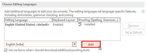 Add the selected language to the proofing list