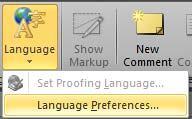 Language button drop-down menu