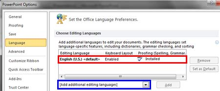 Language options within PowerPoint Options dialog box