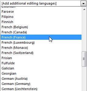 Drop-down list displaying all the editing languages available