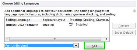 Select a language to add it to the proofing list