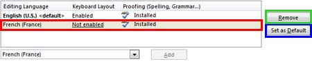 Selected language added to the Editing language list