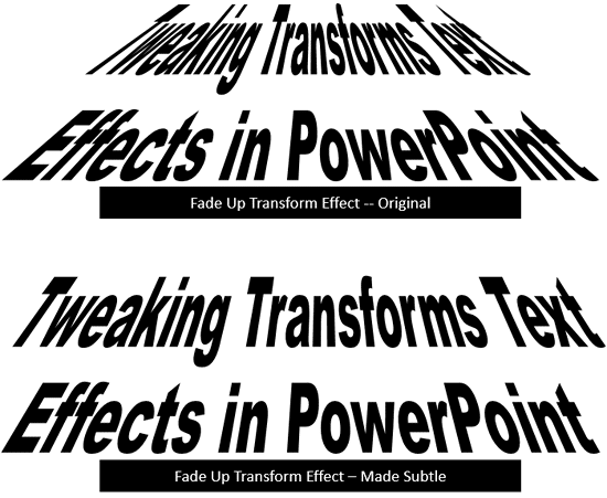 Before and after variations of Text transforms