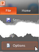 Choose Options within the File menu