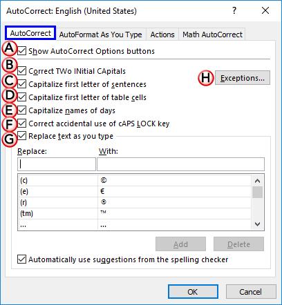 Options within AutoCorrect tab of the AutoCorrect dialog box