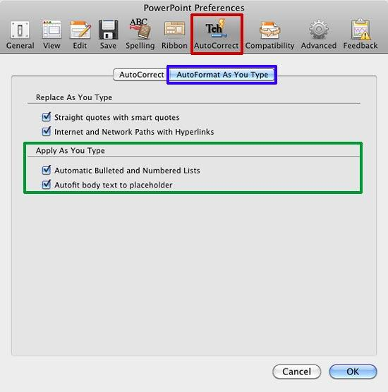 AutoFormat As You Type tab selected within PowerPoint Preferences dialog box
