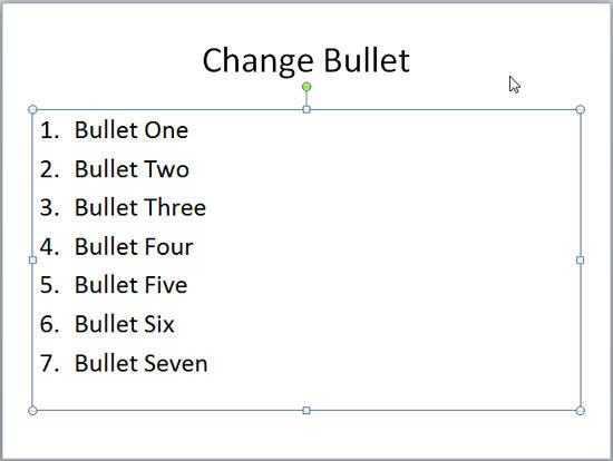 Bulleted list changed to numbered list